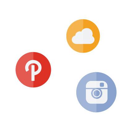 Logos von Pinterest, Soundcloud sowie Instagram