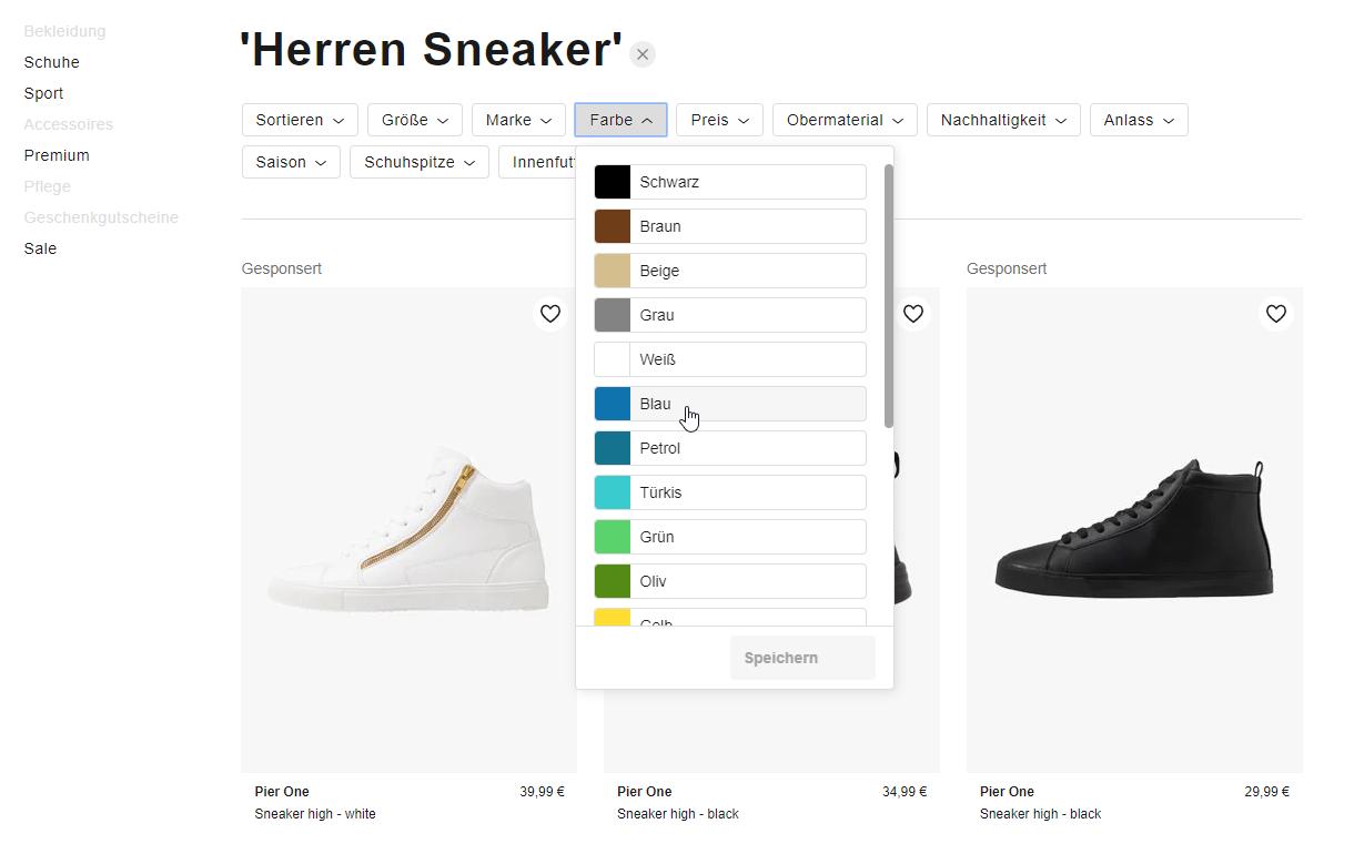 Suchergebnis Beispiel einer Filterung im Onlineshop